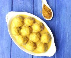 Albóndigas al vapor con curry thermomix Salsa Curry, Albondigas, Pretzel Bites, Muffin, Potatoes, Bread, Vegetables, Breakfast, Recipes
