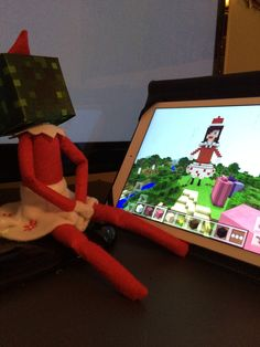 Day 3 - Candy the elf was playing Minecraft last night. She made herself and a couple presents.