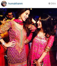 Pakistani models and sisters Huma Khan and Uzma Khan.- mehendi colours-