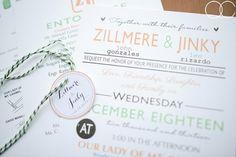Different Font Wedding Invitation   http://brideandbreakfast.ph/2014/08/02/happy-hearts/   Photographer: Quirky Creatives