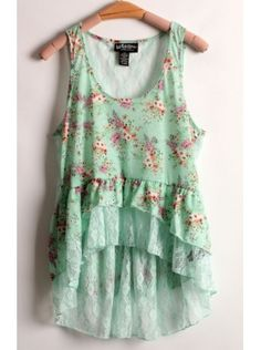 green sleeveless floral print lace dress