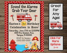 firefighter birthday invite, fireman invite, invitation, boy first birthday, boy firefighter party, boy fire truck birthday, fire truck, 2nd Firefighter Birthday, Birthday Chalkboard, Boy First Birthday, Kid Names, Fire Trucks, Birthday Celebration, Birthday Invitations, First Birthdays, Rsvp