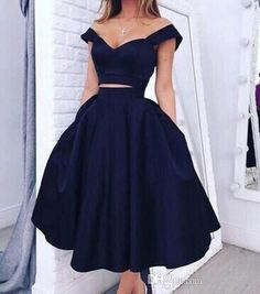 Sexy Black Two Pieces Prom Dresses Off Shoulder With Pockets Tea Length Party Gowns Short Sleeves 2016 Special Occasion Dresses Evening Wear Short Prom Dress Uk Stores For Prom Dresses From Lovely518, $81.68| Dhgate.Com