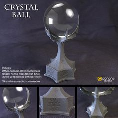 Every evil Witch or Warlock's favorite toy; a crystal ball, with demonic claw holder.  This detailed model consists of 51,504 quad polygons, and 51,502 vertices. The model is UV Unwrapped, and comes complete with all the necessary texture maps for color (diffuse), specular (reflection), glossy (blurry reflection), and bump channels at 2048x2048 pixel resolution.  There is also a special tangent normal map included for added render detail and realism.  If your render software supports it, I…