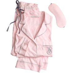 Victoria's Secret The Sleepover Knit Pajama ($52) ❤ liked on Polyvore featuring intimates, sleepwear, pajamas, purple, knit sleepwear, purple pajamas, victoria secret sleepwear, striped pjs and petite sleepwear