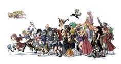 The whole gang is here!!! The guilds in this picture include Lamia Scale, Blue Pegasus, Mermaid Heel, Sabertooth, The Wild Four and, of course, Fairy Tail!!!!!