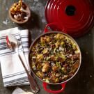 Try the Savory Bread Pudding with Wild Mushrooms and Bacon Recipe on williams-sonoma.com/