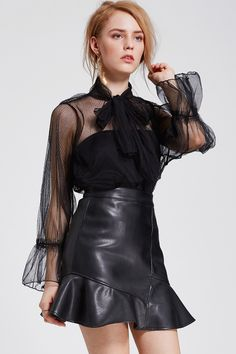 Mina Bow Mesh Blouse Discover the latest fashion trends online at storets.com