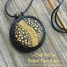 Golden Crackle & Microbeads Polymer Clay Pendant