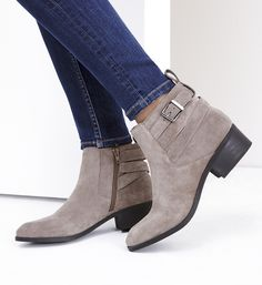 taupe suede buckle booties