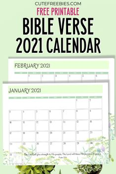 Bible Verse Calendar For 2021! Free printable 2021 calendar with Bible verses for your inspiration. Free download now! #freeprintable #cutefreebies #Bibleverseoftheday