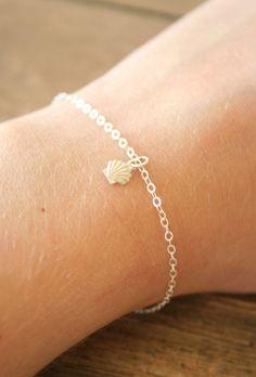Delicate Sterling Seashell Bracelet. $15,00, via Etsy.