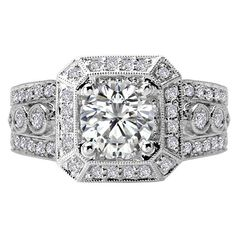 18k White Gold 5/8ct TDW Diamond and Cubic Zirconia Center Stone Semi Mount Halo Engagement Ring (H-I, SI1-SI2)