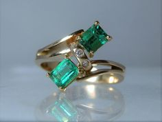 Vintage Ring 18k Yellow Gold Two Emerald Cut Fine Columbian Emeralds With Accent Diamonds Size 7 Ring Excellent Quality and Craftsmanship