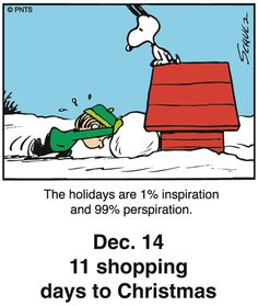 Peanuts Holiday Countdown Dec.14  11 shopping days to Christmas