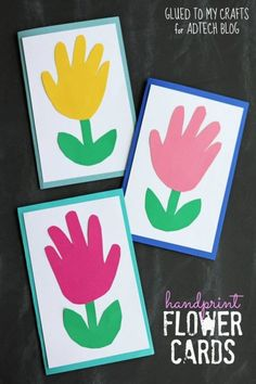 Handprint Flower Cards – Kid Craft perfect for spring and Mother's Day gifts! … Handprint Flower Cards – Kid Craft perfect for spring and Mother's Day gifts! Daycare Crafts, Sunday School Crafts, Baby Crafts, Preschool Crafts, Kids Crafts, Craft Projects, Craft Ideas, Flower Crafts Kids, Diy Ideas