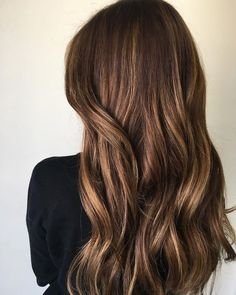 Golden Chocolate Brown Hair Color with Highlights