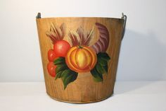 Rustic Hand Painted Wooden Bucket, Wood Storage Pail