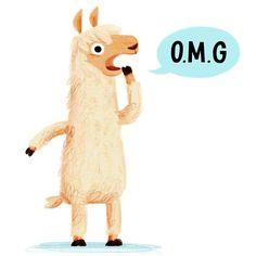 Dramallama [drah-muh-lah-muh] noun. 1: A woolly-haired South American animal, known for it's flamboyant behaviour and dramatic displays of emotion #omg #llama #illustration #card