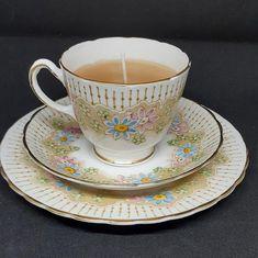 Cup Design, Stripes Design, Teacup Candles, Tea Service, Cup And Saucer Set, Green Flowers, Decorative Items, Pink Blue, Tea Cups