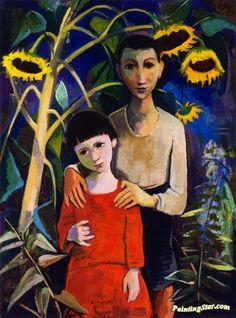 Children under Sunflowers Artwork by Karl Hofer