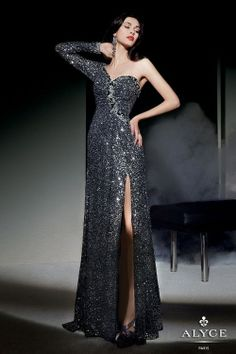 Beautiful asymetrical sequins Alyce Paris dress