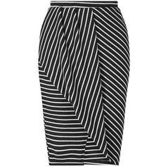 Black Stripe Wrap Skirt (340 DKK) ❤ liked on Polyvore featuring skirts, striped wrap skirt, striped skirts, wrap skirts, miss selfridge skirts and miss selfridge