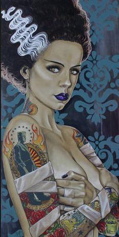 """ Frankenstein and his lovely Bride. All art by Mike Bell. Arte Horror, Horror Art, Horror Pics, Sexy Horror, Horror Decor, Beetlejuice, Mike Bell, Brides With Tattoos, Frankenstein's Monster"