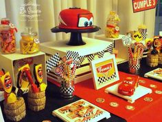 Disney Cars birthday party dessert table! See more party planning ideas at CatchMyPrty.com!