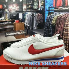 d850aab6 2018 Newest Original Nike Classic Cortez 72 Mens Running Shoes 881205-008  White Red Blue