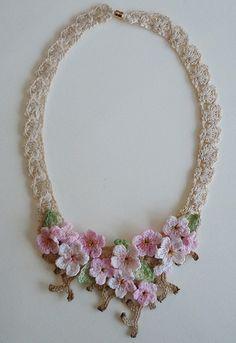 Lace crochet necklace, cherry blossoms