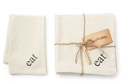 "S/6 ""Eat"" Napkins, Tan on OneKingsLane.com - Very interesting way to bundle/package with rope and clothes pin"