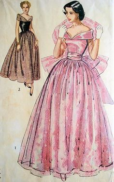 1940s SIMPLICITY 2964 Dreamy Portrait Neckline Evening Gown Party Dress Decollette Portrait collar pink black prom Bodice Plus Evening Stole Wrap Bust 31 Vintage Sewing Pattern