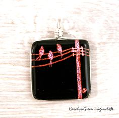 Dichroic Pendant Fused Glass Pendant Dichroic Jewelry Fused Glass Jewelry by CarolynGreenOriginal on Etsy