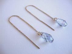 Crystal Blue Shade Swarovski Crystal 3 Inch Gold-filled Threader Earrings - Handmade Jewelry - Bridal / Bridesmaid Earrings