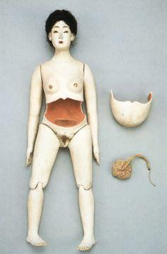 19th century obstetric training doll.    Japan