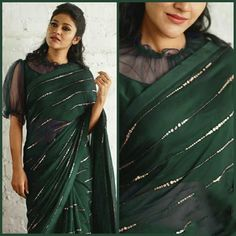 Saree Blouse Neck Designs, Fancy Blouse Designs, Blouse Patterns, Black Saree Designs, Netted Blouse Designs, Sari Bluse, Party Kleidung, Stylish Blouse Design, Stylish Sarees