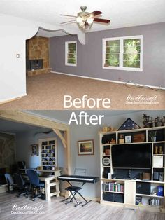 The Living Room Reveal! Before and After.  Laminate flooring, covering windows and taking down scallop curtain wall for wood beams