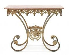 Attirant 394: A French Iron And Marble Pastry Table, Height 34 3 On
