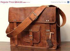 BIG SALE 18x13x6 Leather School Bag Cum Messenger Bag / Satchel - Vintage Retro Looking. $75.60, via Etsy.