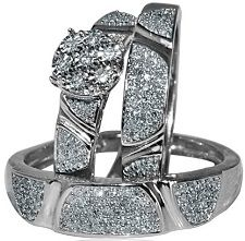 #Jewelry #Rings His and Her Rings Trio Set White Gold 0.5ct Diamond 10K Mens and Womens Set