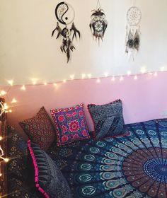 Room inspo from Purple Beetle!  Shop our handmade mandalas at www.purplebeetle.com.ph  #mandala #tapestry #roundie #roundmandala #boho #bohemian #freespirit #gypsy #hippie #boholiving