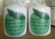 Plant the seeds.... Teachers end of year gift candle. 7cm tall