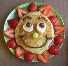 Let your kids wake up to this on a special day or on a weekend.  Make their day Sunny with this pancake.  Cut strawberries in half and surround the pancake, use banana for eyes. Grapes for inside eyes and nose.  Use chocolate frosting or such for mouth and eyebrows.