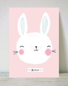 cute, easter, bunny, kids, childrens, design, animal, rabbit, pink, illustration