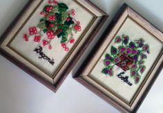 Pair of small framed embroidered pictures by ElRitmoRetro on Etsy, $18.00