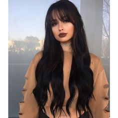 Full Lace Human Hair Wave Wigs With Bangs Natural Wave Glueless Full... ❤ liked on Polyvore featuring beauty products, haircare, hair styling tools, hair, hairstyle, makeup, models and curly hair care