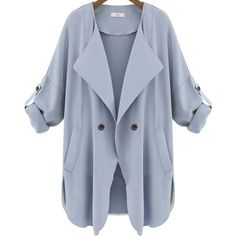 Pockets Blue Trench Coat ($28) ❤ liked on Polyvore featuring outerwear, coats, jackets, coats & jackets, casacos, blue, double breasted long coat, blue long coat, long trench coat and waterfall coat