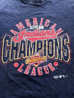 1997 Cleveland Indians American League Champions By Fruit Of The Loom American League, Cleveland Indians, Fruit Of The Loom, American Indians, Cool Shirts, Etsy Store, Vintage Items, Champion, Flaws