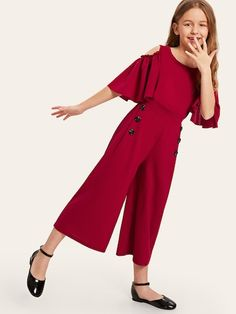 To find out about the Girls Button Detail Cold Shoulder Bell Sleeve Jumpsuit at SHEIN, part of our latest Girls Jumpsuits ready to shop online today! Girls Fashion Clothes, Little Girl Fashion, Fashion Kids, Fashion Outfits, Girl Clothing, Fashion Fashion, Fashion Trends, Fashion Design, Dresses Kids Girl
